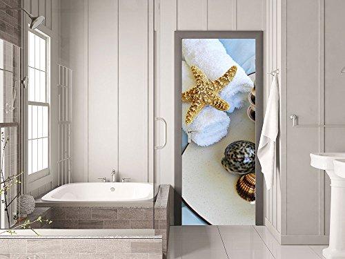 GRAZDesign 791027_101x213 Tür-Bild Seestern mit Muscheln | Aufkleber für Badezimmer/Küche |...