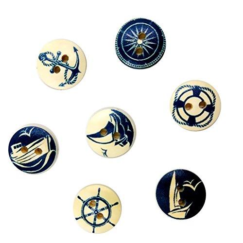 Phononey 100X Knopf Druckknöpfe Kleidung Snaps Taste Holz Rundform Navy Stil Button Hosenknopf Nähfrei DIY für Jacke Brieftasche Leder Handwerk Handtasche Basteln 15mm Zufällige Farbe Navy Snap
