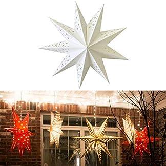 Mobestech 2 piezas pantalla de estrella de papel decorativa festiva estrella linterna de papel luces colgantes de estrellas para fiesta de navidad fiesta de boda decoración