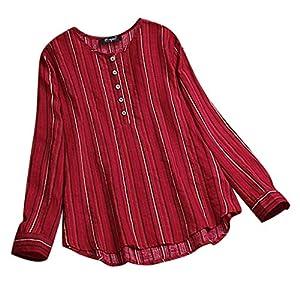 Langarmshirt Damen O-Ansatz Knopf Streifen Pullover übersteigt Mode Sweatshirtlangärmliges Tops