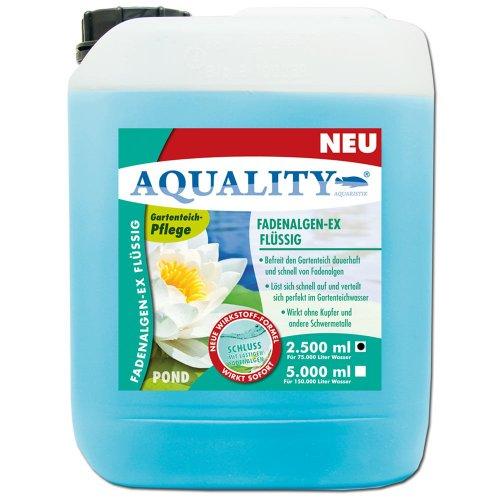 AQUALITY Fadenalgen-EX Flüssig für Ihren Gartenteich 2.500 ml (GRATIS Lieferung innerhalb Deutschlands - Flüssiger Fadenalgenvernichter, Algenmittel und Algenentferner für Ihren Gartenteich. Jetzt noch bessere Wirkung. Löst sich sehr schnell im Teich auf)