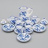 Odoria 1/12 Miniatur Geschirr 15 Stück Vintage Chinesisch Blauen und Weißen Teeservice Set Für Puppenhaus Küche Zubehör