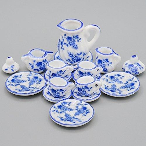 Küche Vintage Geschirr (Odoria 1/12 Miniatur Geschirr 15 Stück Vintage Chinesisch Blauen und Weißen Teeservice Set Für Puppenhaus Küche Zubehör)