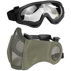 Aoutacc Airsoft Kit de Protection Demi-Masque en Maille avec Protection d'oreille et Lunettes pour CS/Chasse/Paintball/tir, Gris