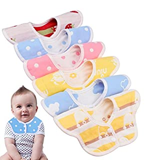 Astarye Flower Shape Bib, 100% Cotton 6 Layer, for meals, 360 Degree Rotation, Double-Sided Use, Contains 6, Gift Certificate for Infant Baby