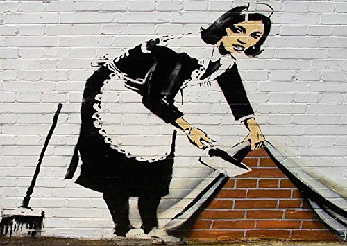 banksy-30-x-20-inch-canvas-art-work-with-iconic-maid-print-on-an-aluminium-probar-frame