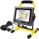 Ustellar 30W 2400LM Lampada da lavoro a LED, Pari a Faro Alogeno da 200W, Impermeabile IP65 Luce da Lavoro, Bianca Diurna 5000K Faretto, Cavo 5M incluso Luce Proiettore