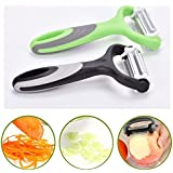 Crazo Fashion Stainless Steel 3-in-1 Multi-function Rotatable Fruits And Vegetables Slicer 420 Blades With Soft Grip (Colour May Vary, 708653166820)