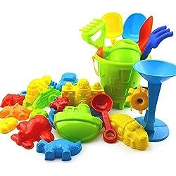 JUNGEN 25PCS Jouet Sable Plage Jeux Plage Jardin Bac Plastique Cadeau Coloré pour Bébé Enfant Seau Jouets Ensemble