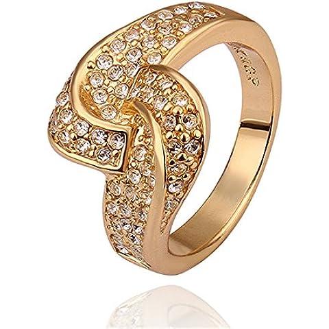 NYKKOLA Hot Fashion Jewelry-Bracciale placcato oro giallo 18 k, con cristalli austriaci, spago-Anello da fidanzamento, (Oro Giallo Mens Wedding Band)