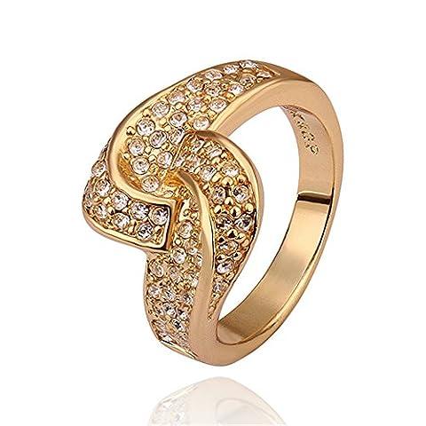 nykkola Hot Fashion Jewelry Bague Plaqué or jaune 18K Ficelle en cristal autrichien mariage bague de fiançailles