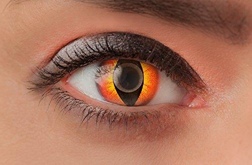 Weiche farbige Kontaktlinsen Funlinsen mit Motiv ohne Stärke für Halloween Fasching Party Kostüm und den Alltag (1 Paar (2Linsen), 15 - Fire Cat) (Paar Party Kostüm)