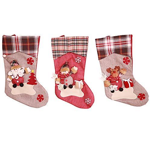 Kesote 3 Calze di Natale con 3D Pupazzo Calze di Regalo con Bobbo Natale, Pupazzo di Neve e Renna Calze Decorative di Casa, 44 x 23CM