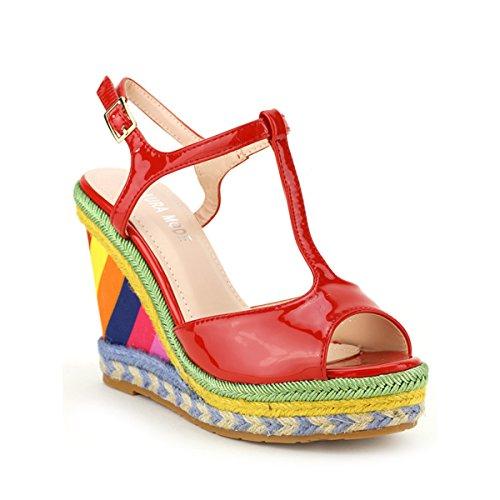Cendriyon, Compensée Vernie COLORINA DESY Chaussures Femme Rouge