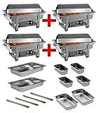 Professionista SET 4x Chafing Dish acciaio inossidabile 8x GN...