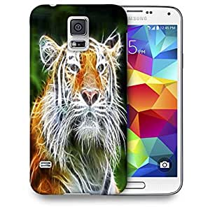 Snoogg Abstract Neon Tiger Printed Protective Phone Back Case Cover For Samsung S5 / S IIIII