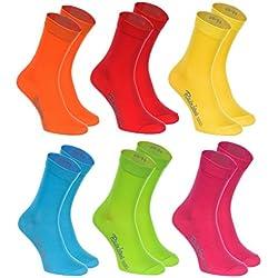 Rainbow Socks 6 pares de Calcetines de algodón en colores: naranja, rojo, amarillo, verde mar, verde, fucsia, algodón de alta calidad con Oeko-Tex certificado, tallas: 42 43