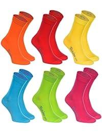 6, 9 oder 12 Paar Socken, Baumwolle in 12 modischen Farben in Europa hergestellt höchste Qualität der Baumwolle mit Zertifikat Öko-Tex in vielen Größen 36 38 39 40 41 42 43 44 45 46 by Rainbow Socks