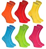 Rainbow Socks - Hombre Mujer Calcetines Colores de Algodón - 6 Pares - Naranja Rojo Amarillo Verde Mar Verde Fucsia - Talla UE 36-38