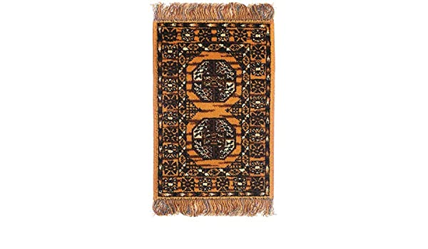 Dolls House Yellow Patterned Afghan Fringed Rug Miniature Flooring Accessory