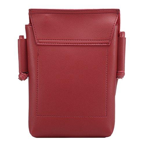 Sasairy Donna Ragazze 14x20.5cm Elegante Borsa a Tracolla Mini Borse a Spalla PU Portafoglio Borsa per Telefono Rosso Scuro
