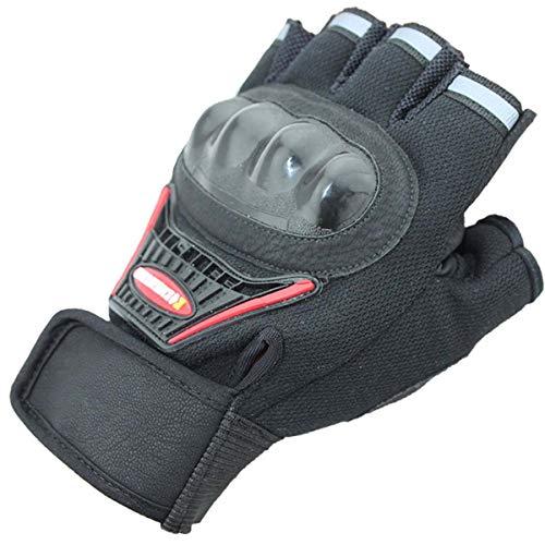 Changjin Motorradhandschuhe für Herren, halbe Finger für Motorcross Motorrad Racing Outdoor Armee Militär Handschuhe, Schwarz
