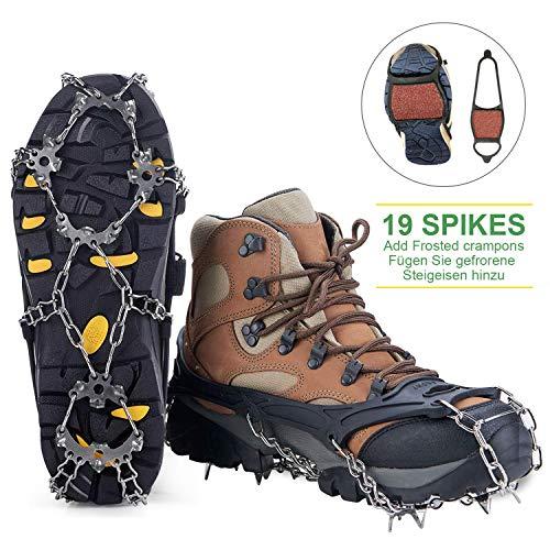 Ice Steigeisen Schuh Spike mit 19 Edelstahlspikes und Schneekette, Strapazierfähigem Silikon, Shoe Talons Anti-Rutsch Boots Spikes Klampen Steigeisen für Gehen, Joggen, Klettern und Wandern (XL)
