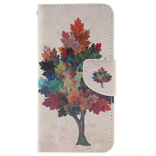 Coque iPhone 5C, Coffeetreehouse pour iPhone 5C Coque Lanyard Dragonne Portefeuille étui en cuir PU Cuir Portefeuille Etui Housse Coque Coquille avec Stand et les fentes de carte de crédit, Wallet / C arbres colorés