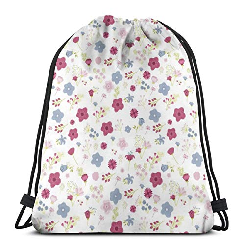 vintage cap Elioenai White Floral_17618 3D Print Drawstring Backpack Rucksack Shoulder Bags Gym Bag for Adult 16.9