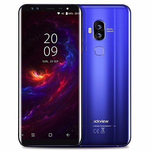 Blackview S8 Four Cameras 18:9 Smartphone 4G RAM 64G ROM 5.7 Inch MT6750T Octa Core 1440*720 4G LTE Fingerprint OTG Mobile Phone(Blue)
