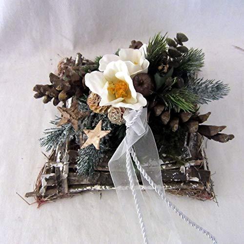 Small-Preis Wintergesteck – Grabgesteck – Grabschmuck – Grabaufleger Kissen Ben mit Christrose Weihnachten 891