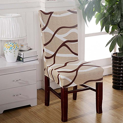 EMVANV Stuhlbezüge, Stretch-Sitzbezug, elastisch, abnehmbar, waschbar, für Hochzeit, Esszimmerstuhl, Schonbezüge, braun, Free Size (Sitzbezüge Esszimmerstuhl)