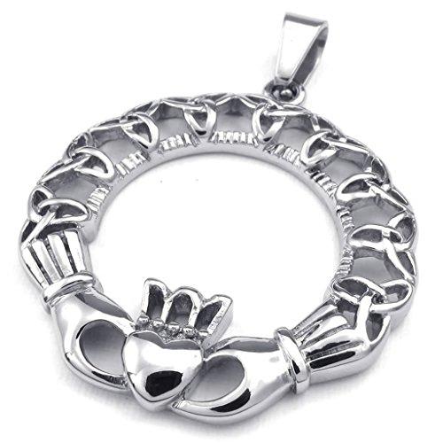 Epinki Edelstahl Herrenkette, Herren Anhänger Halskette Keltisch Claddagh Herz Krone 22 (Löwen Kostüme Diy)
