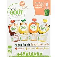 Good Goût - BIO - Gourde de Purée de Fruits Tout Seuls et une cuillère Baby Clips dès 4 Mois 4 x 120 g - Lot de 3