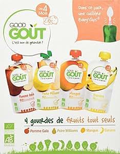 """Good Goût - BIO - """"Fruits Tout Seuls"""" 4 Gourdes de purée de fruit et une cuillère Baby Clips dès 4 mois 120g - Lot de 3"""