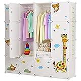 Koossy Erweiterbares Kinderregal Kinder Kleiderschrank mit Giraffe Aufkleber für Kinderzimmer (Weiß, 16Türen)