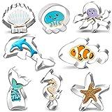 Sea Life Cookie Cutters Set-8 Pack Cookie Cutters Sirena, delfín, pulpo, medusa, pez payaso, caballito de mar, estrella de mar y concha de mar Animal en forma de galleta Fondant Cutters Moldes