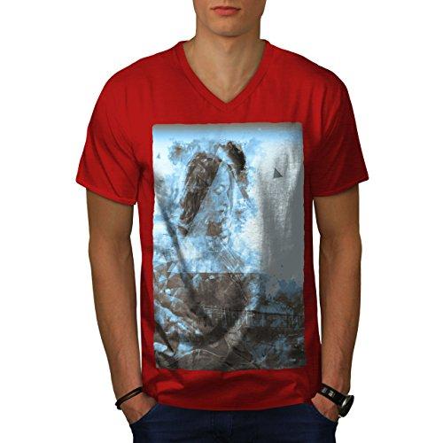 wellcoda Abstrakt Geige Kunst Musik Männer M V-Ausschnitt T-Shirt