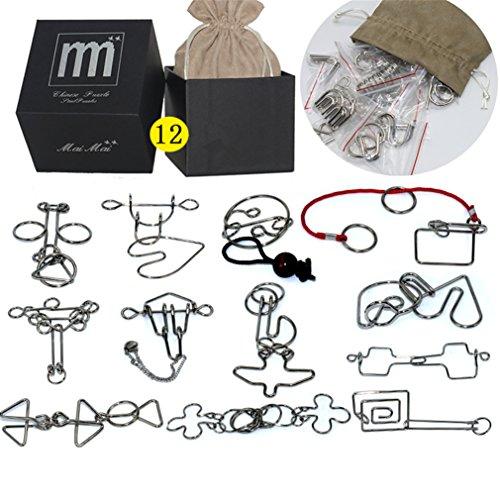 Holzsammlung Knobelei aus Metall IQ-Spiel Puzzle Set, Gehirnjogging Puzzles 3D Denksportaufgaben Geschicklichkeitsspiel Brainteaser 12 Stücke Knobelspiele für Erwachsene Kinder Geschenk Set #16