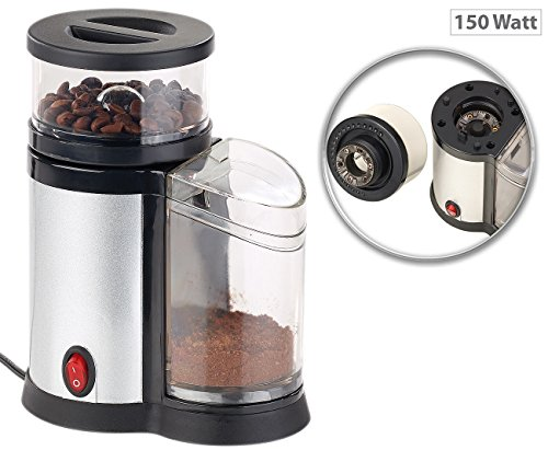 Rosenstein & Söhne Kaffeemuehle: Elektrische Kaffeemühle, Edelstahl-Scheibenmahlwerk und -Blende, 150 W (Elektro-Kaffeemühle)