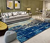 140x200 cm, Personalizza tappeto | Nordico minimalista astratto blu mare soggiorno camera da letto comodino tappeto, regalo di Natale, Halloween, Capodanno
