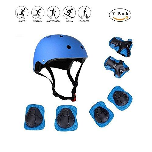 COOLGOEU Skateboard Helm Kinder, 7 in 1 Protektorenset Kinder mit Knieschoner, Ellenbogenschoner und Handgelenkschoner für Inlineskates, Skateboard, Hoverboard, Fahrrad, BMX-Fahrrad (Blau)