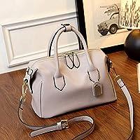 YANHTSO Bolsos de Cuero Messenger Bag Europa y los Estados Unidos Boston Bag Handbags First Layer Leather Shoulder Bag Pillow Bag (Color : Gray)