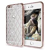 NALIA Handyhülle für iPhone 6 6S, Durchsichtiges Slim Silikon Case Strass-Muster Metall-Optik Dünner Schutz-Hülle Glitzer Bling Cover Etui, Bumper Handy-Tasche für Apple iPhone 6S 6, Farbe:Rosa