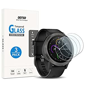 Screen Protector for Garmin Vivoactive 3, OOTSR (3 Pack) Full Coverage Tempered Glass Screen Protector for Garmin Vivoactive 3 [Crystal Clear] [Anti-Scratch] [No-Bubble]