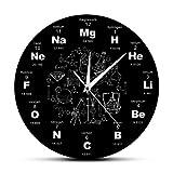 LIPING-OM Reloj de Pared de acrílico Diseño Moderno Elementos químicos Ciencia...