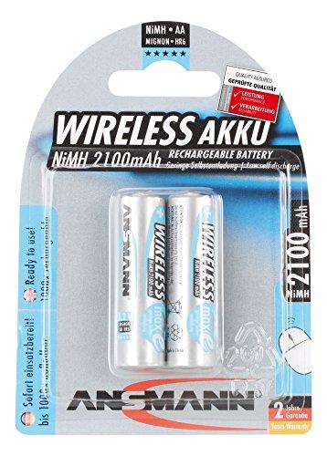 ANSMANN Akku Batterie für Computermaus Tastatur Mignon AA 2100mAh WIRELESS maxE ohne Memory-Effekt geringe Selbstentladung LSD sofort einsatzbereit 2er Pack Serie Aa-batterie Pack