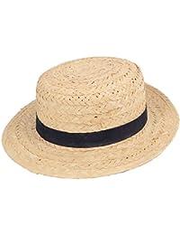Deguisement Canotier Chapeau de paille avec bande decorative bleu fonce