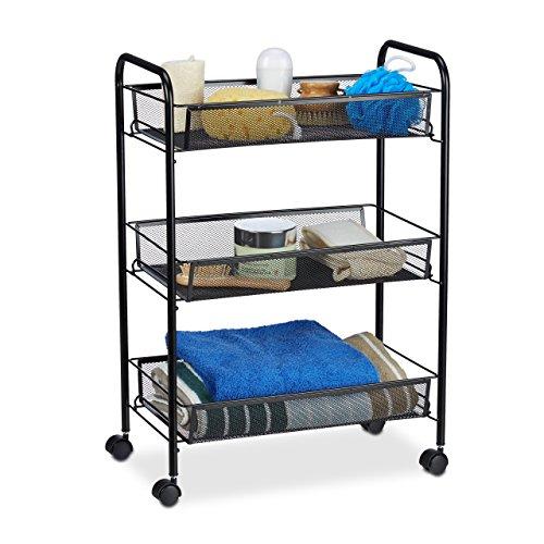 Relaxdays Rollwagen Metall 3 Fächer, schmaler Nischenwagen für Küche, Bad, Beistellwagen HxBxT 62x26,5x44,5 cm, schwarz