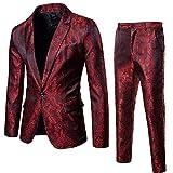 BaZhaHei Uomo Top,2Pcs Set Giacca da Uomo in Blazer Casual o Formale Blazer Moda Uomo Slim Abiti da Uomo d'Affari...